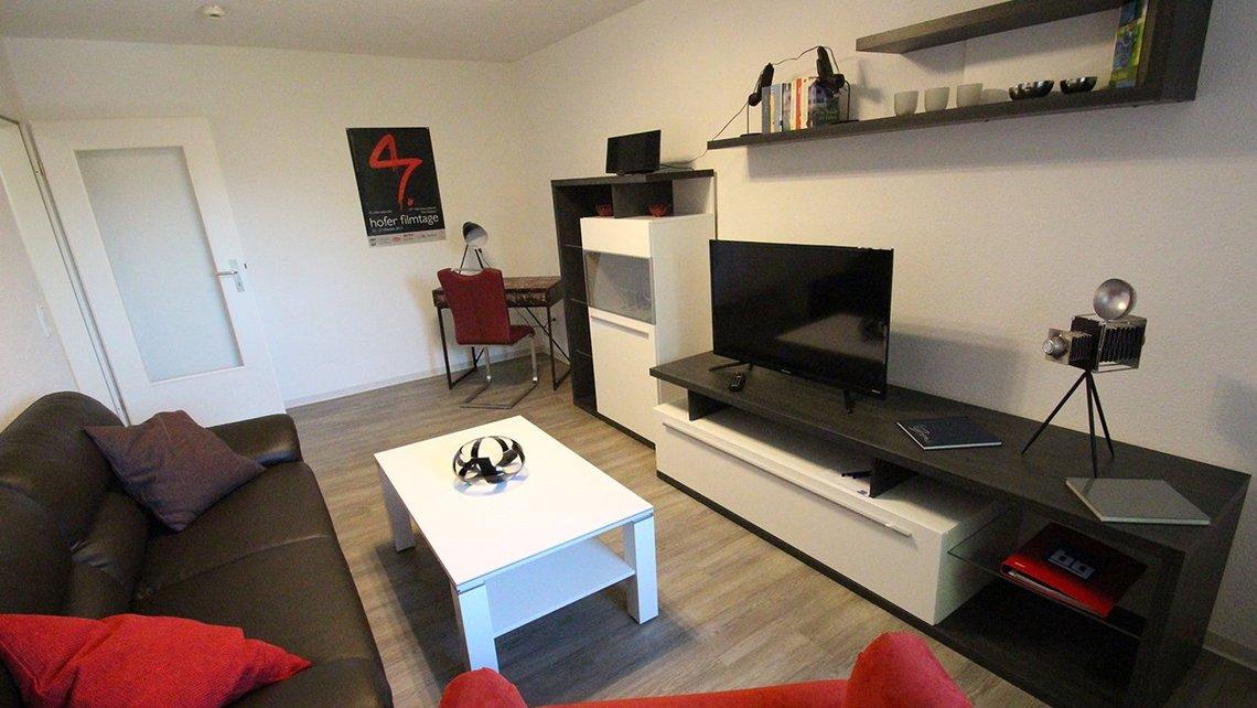 Bild des Wohnzimmers der Gästewohnung Home of Films