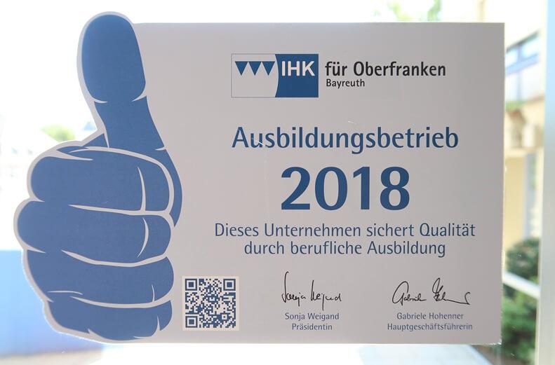 Logo der IHK Oberfranken für anerkannte Ausbildungsbetriebe